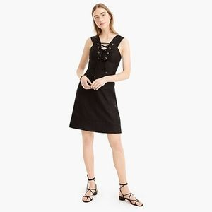 J. CREW  Lace Up Dress in structured Linen